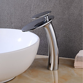 cheap Bathroom Sink Faucets-Brushed Nickel Waterfall Bathroom Sink Faucet with Supply Hose,Single Handle Single Hole Vessel Lavatory Faucet,Slanted Body Basin Mixer Tap Tall Body Commercial