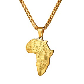 cheap Men's Jewelry New Arrivals-Men's Pendant Necklace Classic Map Maps Eyes The Eye of Horus Classic Fashion Africa African Stainless Steel Black Rose Gold Black Rhinestone RoseGolden Rhinestone RoseGolden Letter 55 cm Necklace