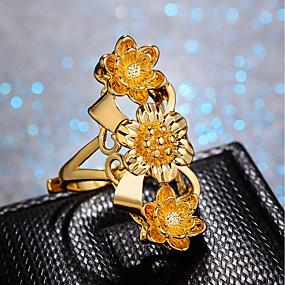 preiswerte Schmuck & Armbanduhren-Damen Ring Einstellbarer Ring 1pc Gold vergoldet damas Luxus Hyperbel Hochzeit Geschenk Schmuck Klassisch Niedlich