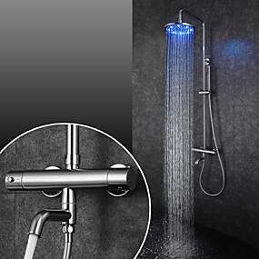 preiswerte Duscharmaturen-Duscharmaturen / Waschbecken Wasserhahn - Moderne Chrom Wandmontage Keramisches Ventil Bath Shower Mixer Taps / Messing / Zwei Griffe Zwei Löcher