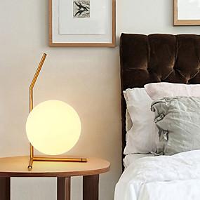 preiswerte Beleuchtung mit Stil-moderne led weiß glas ball tischlampe für schlafzimmer wohnzimmer boden nacht büro schlafzimmer studie nacht schreibtisch licht gold designs