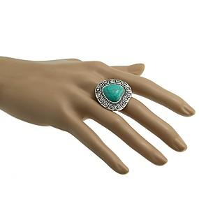 billige Vintage Ring-Dame Åpne Ring Turkis 1pc Sølv Legering damer Vintage vestlig stil Daglig Smykker Retro Hjerte