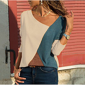 cheap Lightning sale-Women's Causal Plus Size Blouse - Color Block V Neck White / Spring / Fall