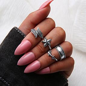 billige Vintage Ring-Dame Ring Set Multi-fingerring Midiringe 4stk Sølv Legering Sirkelformet damer Personalisert Unikt design Daglig Aftenselskap Smykker Retro Blad Formet Sjøstjerne Kul