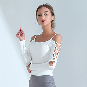 cheap Women's Activewear-Women's Spaghetti Strap Criss Cross Crop Top Solid Color Zumba Yoga Dance Top Long Sleeve Activewear Breathable Quick Dry Sweat-wicking High Elasticity Slim