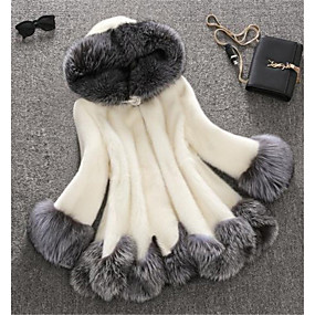 cheap Winter Clothing-Women's Winter Plus Size Long Faux Fur Coat, Color Block White Hooded Long Sleeve Faux Fur White / Black
