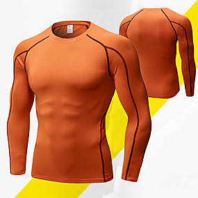 cheap Running & Jogging-YUERLIAN Men's Running Shirt Athletic Underwear Base Layer Compression Clothing Elastane Winter Yoga Fitness Running Breathable Quick Dry Anatomic Design Sport Solid Color Black / Silver Black / Red