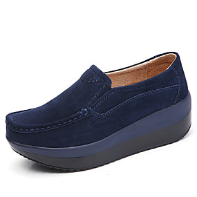 cheap Women's Slip-Ons & Loafers-Women's Loafers & Slip-Ons Creepers Round Toe Casual Daily Solid Colored Cowhide Almond / Black / Red