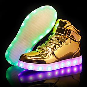 preiswerte Jungenschuhe-Jungen Leuchtende LED-Schuhe PU Sneakers Kleine Kinder (4-7 Jahre) / Große Kinder (ab 7 Jahren) LED Silber / Blau / Rosa Herbst