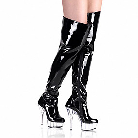 voordelige Wijdere maten schoenen-Dames Laarzen Sexy Laarzen Naaldhak / Plateau Rits Lakleer Modieuze laarzen / Club Schoenen / Lucite Heel Herfst / Winter Zwart / Zwart / Rood / zwart / wit / Feesten & Uitgaan / Kniehoge laarzen