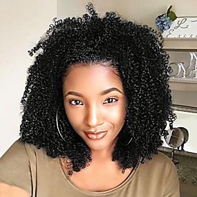 abordables Curly Lace Wigs-Peluca Pelo Natural Frontal sin Pegamento Encaje Frontal Cabello Brasileño Afro Kinky Curly Mujer Densidad 130% con pelo de bebe Entradas Naturales Peluca afroamericana Atado 100 % a mano Corta Media