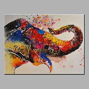 povoljno Slike za cvjetnim/biljnim motivima-Hang oslikana uljanim bojama Ručno oslikana - Sažetak Pop art Klasik Moderna Bez unutrašnje Frame / Valjani platno