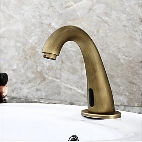 abordables Robinets à induction-Robinet lavabo - Tactile / non tactile Laiton Antique Sur Pied Mains libres un trouBath Taps