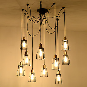 povoljno Lámpatestek-10-Light industrijski Lusteri Downlight Slikano završi Metal Uže, Kreativan, Produžen 110-120V / 220-240V
