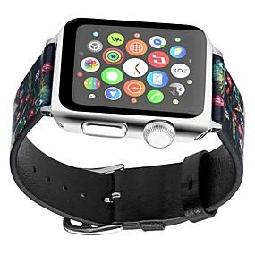 preiswerte Smart Watch Band-Echtleder Uhrenarmband Gurt für Apple Watch Series 4/3/2/1 Schwarz / Gelb 23cm / 9 Zoll 2.1cm / 0.83 Inch