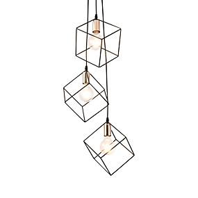 cheap Lantern Design-3-Light 3-Head Vintage Black Metal Cage Loft Mini Pendant Lights Modern Living Room Dining Room Hallway Light Fixture