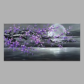 billige Blomster-/botaniske malerier-Hang malte oljemaleri Håndmalte - Abstrakt Blomstret / Botanisk Moderne Uten Indre Ramme / Valset lerret