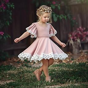 preiswerte Baby & Kinder-Baby Mädchen Grundlegend Alltag Staubige Rose Solide Kurzarm Kleid Rosa