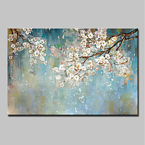 cheap Floral/Botanical Paintings-Oil Painting Hand Painted Abstract / Floral / Botanical Modern Canvas With Stretched Frame