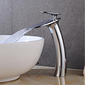 preiswerte Armaturen-Waschbecken Wasserhahn - Wasserfall Chrom Mittellage Einhand Ein LochBath Taps