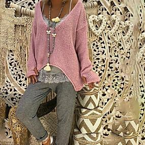 preiswerte FR Inspiration folk Adoptez le look bohème-Damen Alltag Übergröße Solide Langarm Standard Pullover Pullover Jumper Schwarz / Rosa / Grün S / M / L