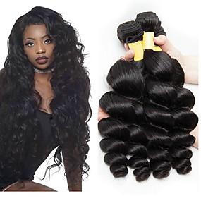 preiswerte Human Hair Weaves-3 Bündel Peruanisches Haar Wellen Echthaar Unbearbeitet Echthaar Menschenhaar spinnt Erweiterung Bundle Haar 8-28 Zoll Naturfarbe Menschliches Haar Webarten seidig Beste Qualität Seide Basis Haar