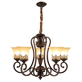 cheap Ceiling Lights & Fans-Ecolight™ 5-Light 68 cm Candle Style Chandelier Metal Glass Painted Finishes Vintage 110-120V / 220-240V / E26 / E27