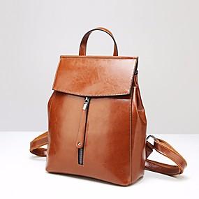 preiswerte Shoes & Bags Just For Your Beautiful-Rindsleder Reißverschluss Rucksack Volltonfarbe Alltag Grau / Fuchsia / Braun / Herbst Winter