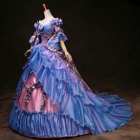 preiswerte Renovierung-Cinderella Prinzessin Victorianischer Style Rokoko Kleid Austattungen Party Kostüme Maskerade Damen Kostüm Regenbogen Vintage Cosplay Party Abiball 3/4 Ärmel