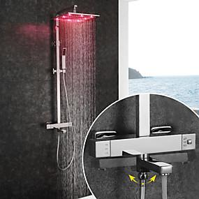 preiswerte Armaturen-Duscharmaturen / Waschbecken Wasserhahn - Moderne Chrom Wandmontage Keramisches Ventil Bath Shower Mixer Taps / Messing / Zwei Griffe Zwei Löcher