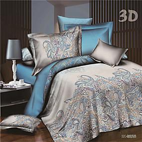 preiswerte Sommer Ausverkauf-Bettbezug-Sets 3D Polyester / Baumwolle Reaktivdruck 4 StückBedding Sets / 250 / 4-teilig (1 Bettbezug, 1 Bettlaken, 2 Kissenbezüge)