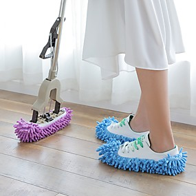 cheap Bathroom Gadgets-1 Pair Dust Mop Slipper Lazy House Floor Polishing Cleaning Easy Foot Sock Shoe Cover Random Color