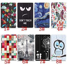 povoljno Maske za mobitele-Θήκη Za Huawei Huawei Mediapad T5 10 / Huawei MediaPad T3 10(AGS-W09, AGS-L09, AGS-L03) sa stalkom / Zaokret / Uzorak Korice Eiffelov toranj / Uljane slike / Sova Tvrdo PU koža