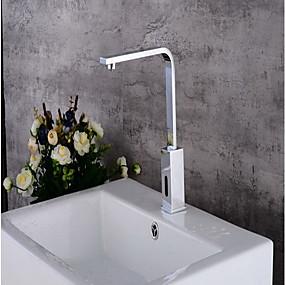 preiswerte Induktions-Hähne-Waschbecken Wasserhahn - Sensor Chrom Freistehend Hände frei Ein LochBath Taps