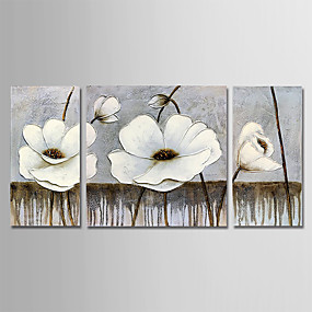 povoljno Slike za cvjetnim/biljnim motivima-Hang oslikana uljanim bojama Ručno oslikana - Cvjetni / Botanički Moderna Uključi Unutarnji okvir / Tri plohe / Prošireni platno