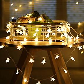 tanie Taśmy świetlne LED-6 m Łańcuchy świetlne 40 Diody LED 1 zestaw Ciepła biel Dekoracyjna 220-240 V