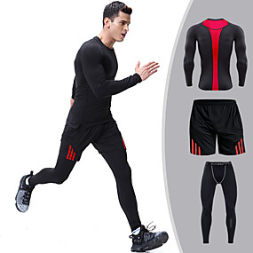 cheap Men's Activewear-Men's Patchwork Tracksuit Running T-Shirt With Pants Running Shirt Casual Long Sleeve Spandex Breathable Quick Dry Compression Fitness Gym Workout Sportswear Plus Size Shorts Pants / Trousers