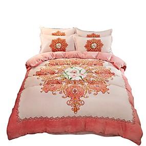 preiswerte Blumen-Duvet-Abdeckungen-Bettbezug-Sets Chinesischer Stil Polyester Bedruckt 4 StückBedding Sets / 4-teilig (1 Bettbezug, 1 Bettlaken, 2 Kissenbezüge)