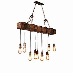 povoljno Lámpatestek-10-Light industrijski Lusteri Ambient Light Slikano završi Wood / Bamboo Kreativan 110-120V / 220-240V