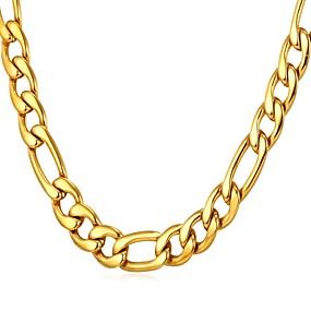 preiswerte Schmuck für Herren-Herrn Ketten Figaro Kette Box-Kette Mariner Chain Modisch Dubai HipHop Edelstahl Schwarz Gold Silber 55 cm Modische Halsketten Schmuck 1pc Für Geschenk Alltag