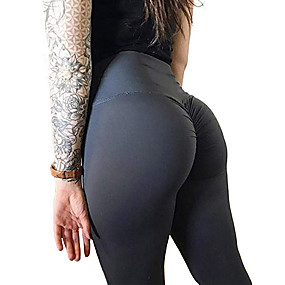 cheap Exercise, Fitness & Yoga-Women's High Waist Yoga Pants Ruched Butt Lifting Leggings Tummy Control Butt Lift Dark Grey Violet Black Spandex Fitness Gym Workout Running Sports Activewear High Elasticity Skinny Slim