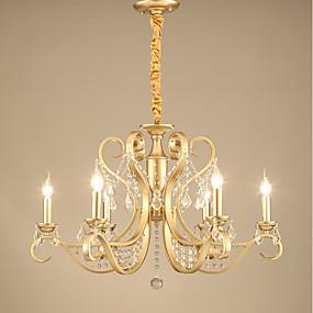 preiswerte Renovierung-JLYLITE 6-Licht Kerzen-Stil Kronleuchter Deckenfluter Galvanisierung Metall Candle-Art 110-120V / 220-240V