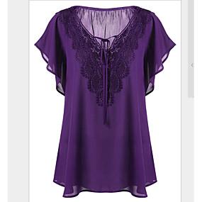 preiswerte Damenbekleidung-Damen Solide - Grundlegend Übergrössen T-shirt, V-Ausschnitt Schlank Schwarz