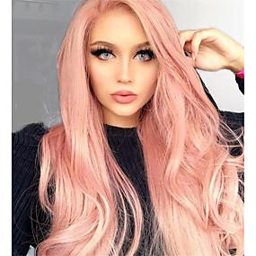 preiswerte Pink & Red Lace Wigs-Unbehandeltes Haar Vollspitze Perücke Tiefes Teilen Kardashian Stil Brasilianisches Haar Glatt Rosa Mehrfarbig Perücke 130% Haardichte 12-24 Zoll mit Babyhaar 100% Jungfrau mit Clip Mit gebleichten