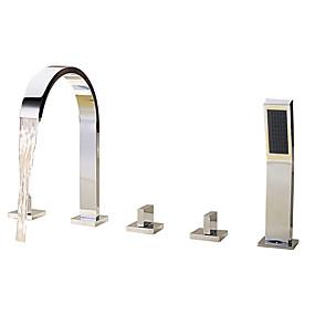 preiswerte Badewannen Armaturen-Badewannenarmaturen - Moderne Chrom Romanische Wanne Keramisches Ventil Bath Shower Mixer Taps / Messing / Drei Griffe Fünf Löcher