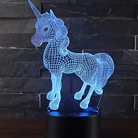 cheap Décor & Night Lights-Beautiful Unicorn Romantic Gift 3D LED Table Lamp 7 Color Change Night Light Room Decor Lustre Holiday Girlfriend Kids Toys