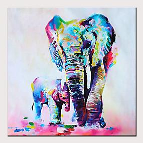 voordelige Schilderijen van dieren-Hang-geschilderd olieverfschilderij Handgeschilderde - Abstract / Pop Art Modern Zonder Inner Frame