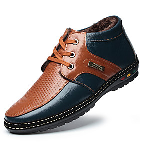 cheap Men's Leather Shoes-Men's Sneakers / Boots Comfort Shoes Work Boots Casual Party & Evening Office & Career Cowhide Warm Yellow / Brown Color Block Winter