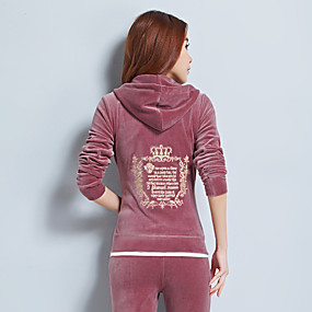 cheap Running & Jogging-Women's Wide Leg Tracksuit Winter Long Sleeve V Neck Velvet Anatomic Design Quick Dry Breathable Zumba Yoga Fitness Running Sportswear Solid Colored Plus Size Light Coffee Burgundy Blue Pink