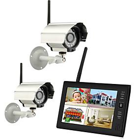 """povoljno Sigurnosni sustavi-bežične 4-quad quad dvr kamere za noćno gledanje sa 7 """"tft-lcd monitor kućnim sigurnosnim sustavom pal ntsc ugrađenim mikrofonom za nadzor cctv sustava pal 628 * 582 ntsc 510 * 492"""
